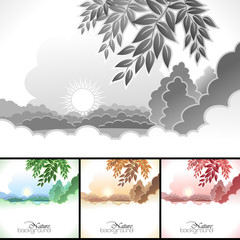 Sun and clouds and nature  backgrounds