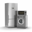 Leinwanddruck Bild - Home appliances. Refrigerator, microwave and  washing maching.