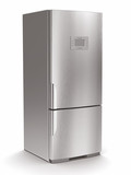 Metallic refrigerator on white isolated background.