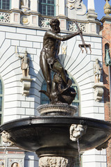 famous Neptune fountain in Gdansk, Poland, made in 1633