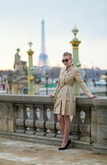 Beautiful Parisian woman in park