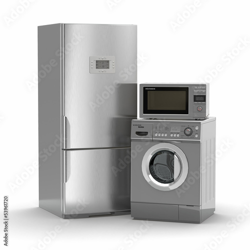 Home appliances. Refrigerator, microwave and  washing maching.