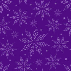 Simple Flower Silhouettes on Purple Seamless Background