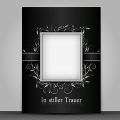 Trauerkarte mit Text- , Bildfeld