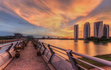 Modern office buildings in Putrajaya with a sunset view