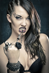 Sexy Punk Girl Biting Necklace