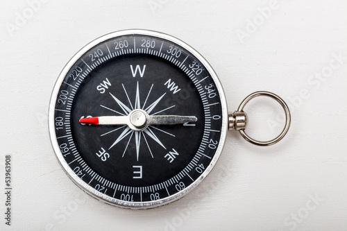 Leinwandbild Motiv Route mit Kompass planen
