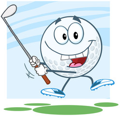 Happy Golf Ball Cartoon Character Swinging A Golf Club