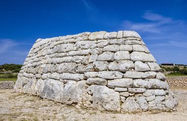 Naveta des Tudons ossuary at Menorca island, Spain.