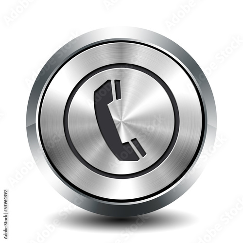 Round metallic button -  phone