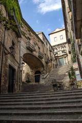 Scalinata storica della città di Girona, Spagna