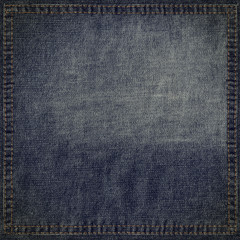 Blue jeans grunge background with stitched frame