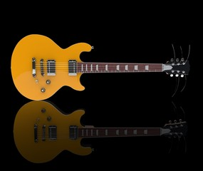 Yellow Electric Guitar On Black Background