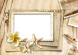 Vintage background with photo-frames and seashells