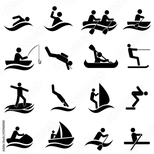 Water sports icon set