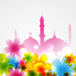 mosque covered with flowers