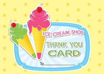 Ice cream shop thank you card.