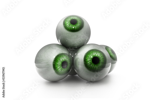 3d illustration of human eye in white background.