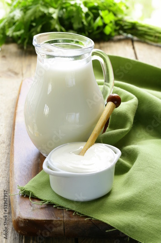 still life of dairy products (milk, sour cream)