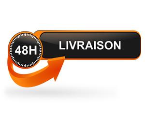 livraison en 48 heures sur bouton web design orange