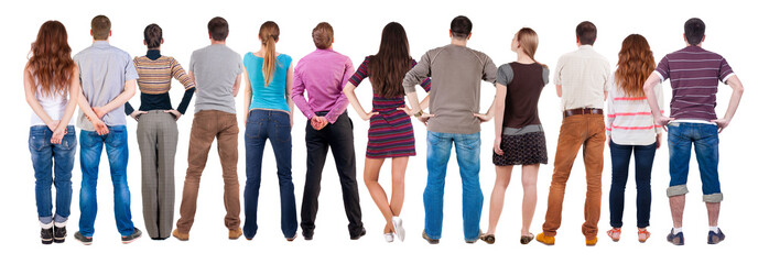 Back view group of people  looking