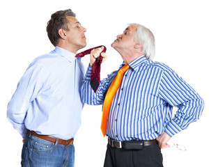 businessman pulling a tie to younger man