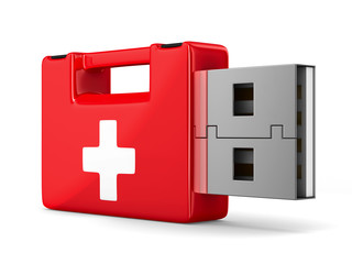 rescue usb flash drive on white background. Isolated 3D image