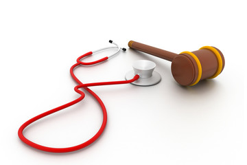 Stethoscope and gavel isolated on white background.