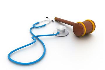 Stethoscope and gavel isolated on white background..