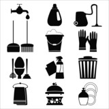 Vector set of home cleening elements on white background.