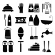 Vector set with decorative hygiene icons silhouette