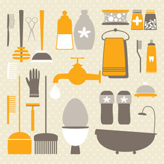 Vector set with decorative hygiene icons