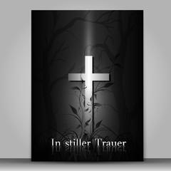 Trauerkarte dunkel mit Kreuz