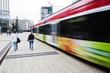 Leinwandbild Motiv Straßenbahn im Bankenviertel von Frankfurt am Main