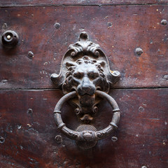 Antique door knocker, Tuscany, Italy