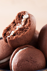 Bitten chocolate and vanilla whoopie