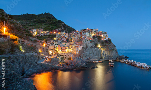 Manarola at twilight, Cinque Terre, Italy