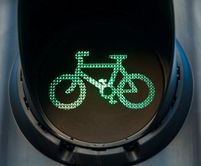 Green bicycle traffic light