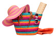 Colorful striped beach bag with a hat sun mat towel and sunglass - 53975358