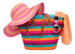 Colorful striped beach bag with a straw hat towel and sunglasses - 53975363
