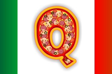 PIZZA - LETTER - Q of the alphabet