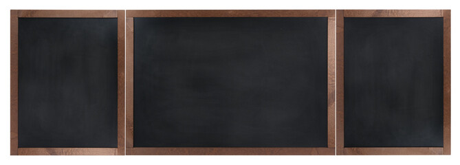 Empty, 3-element chalkboard (blackboard) isolated on white