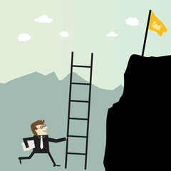 Businessman climbing with stairs for a high target