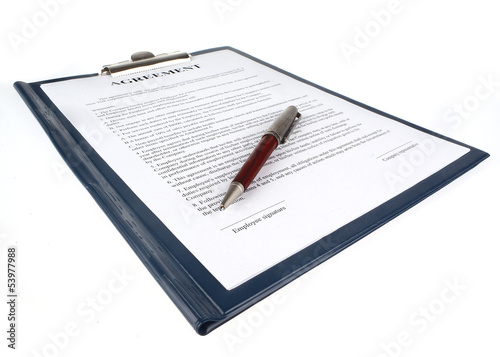 Contract (agreement) in a clipboard isolated on white