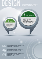 Brochure design with two round infographic elements