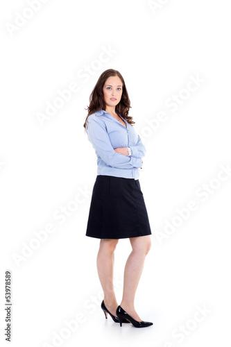 Business Frau stellt sich vor