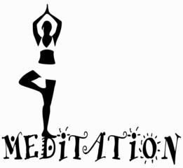 silhouette di donna in posizione di meditazione