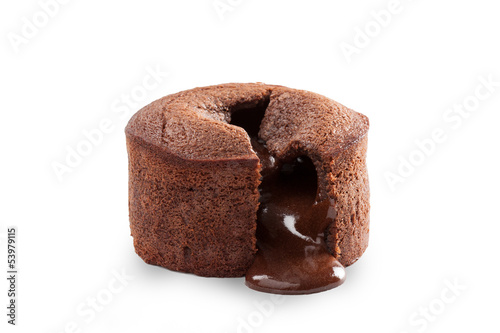 Melting chocolate pudding isolated on white