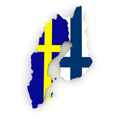 Map of Sweden and Finland.