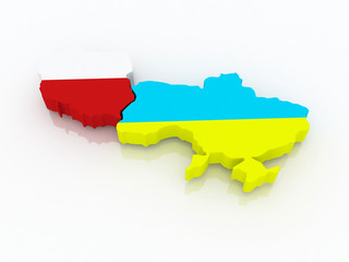 Map of Poland and Ukraine.